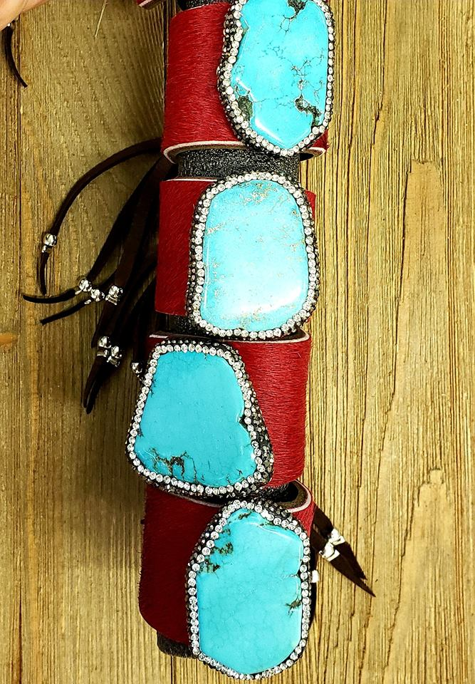 Crimson red hair on hide pave cinch cuff