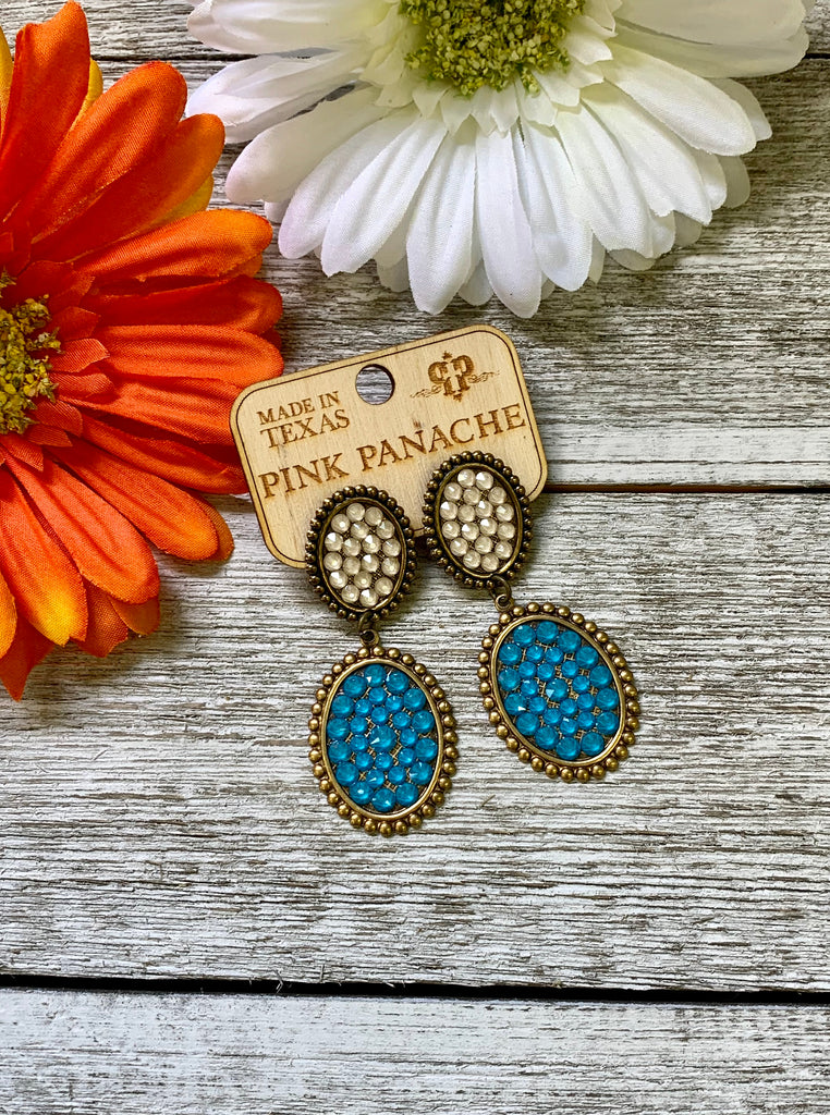 Blue & White Mini Double Oval Earrings by Pink Panache