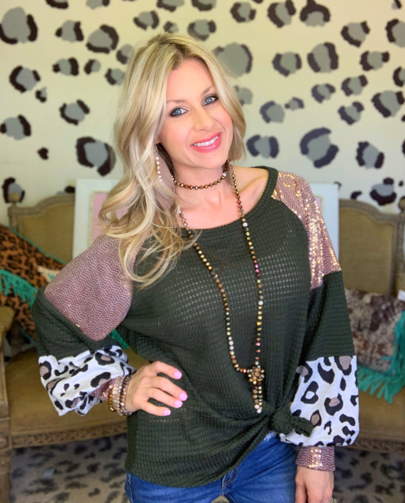 Olive Me Loves Olive Leopard & Sequins Blouse