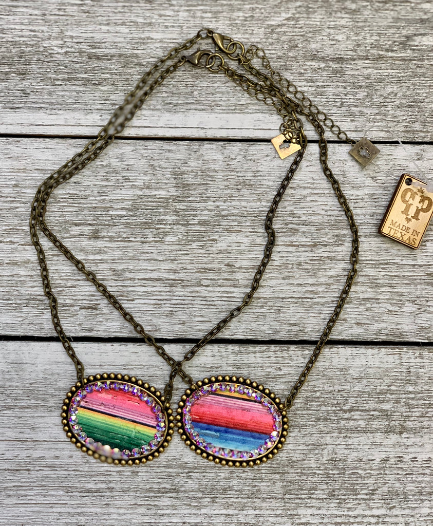 Serape AB embellished Pink panache oval necklace