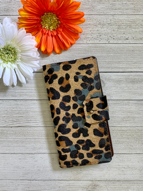 BLue & Leopard Hair on Hide Iphone 7/8 Plus Holder