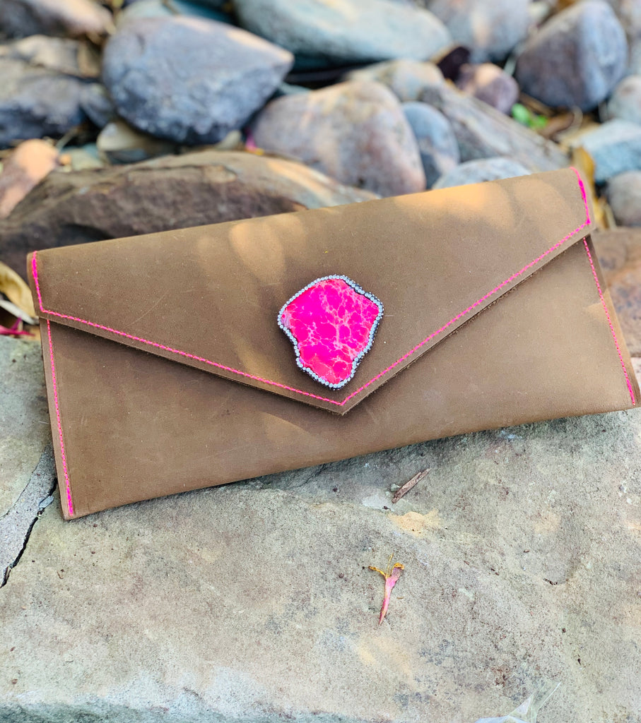 Brown Leather & Pink Stitched Clutch / Purse with Pink Pave slab