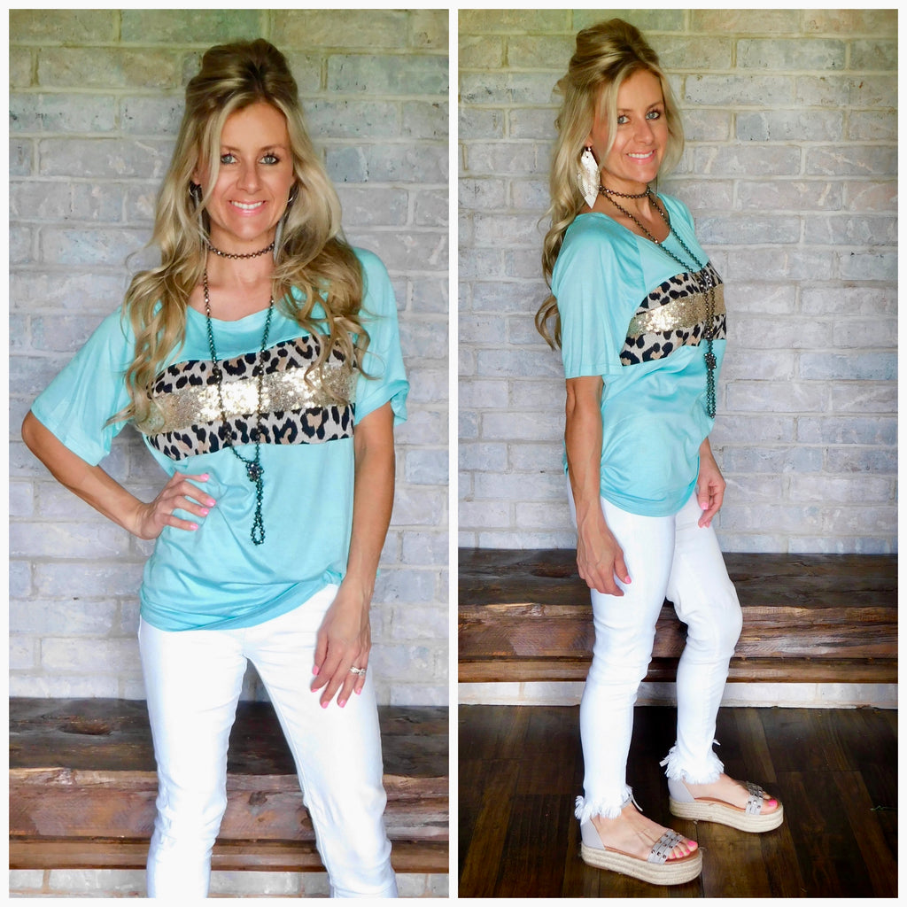 Mint Leopard & Sequin Short Sleeve