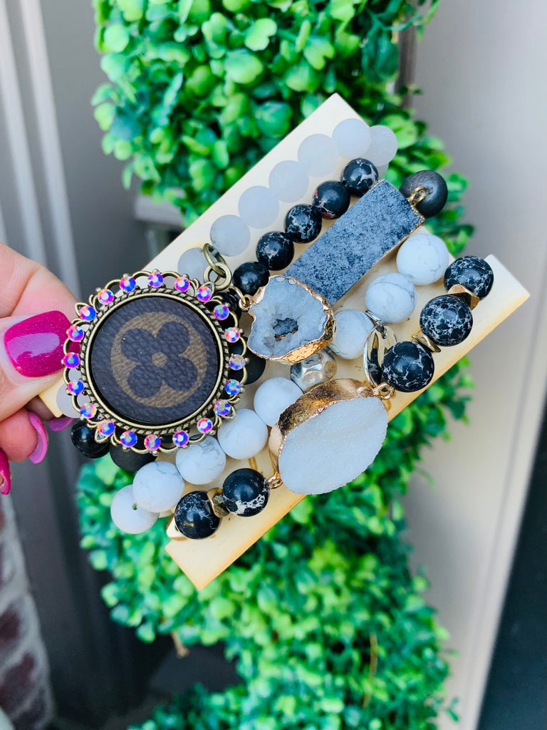 Chic Marbled Druzy Black Upcycled Bracelet Stack