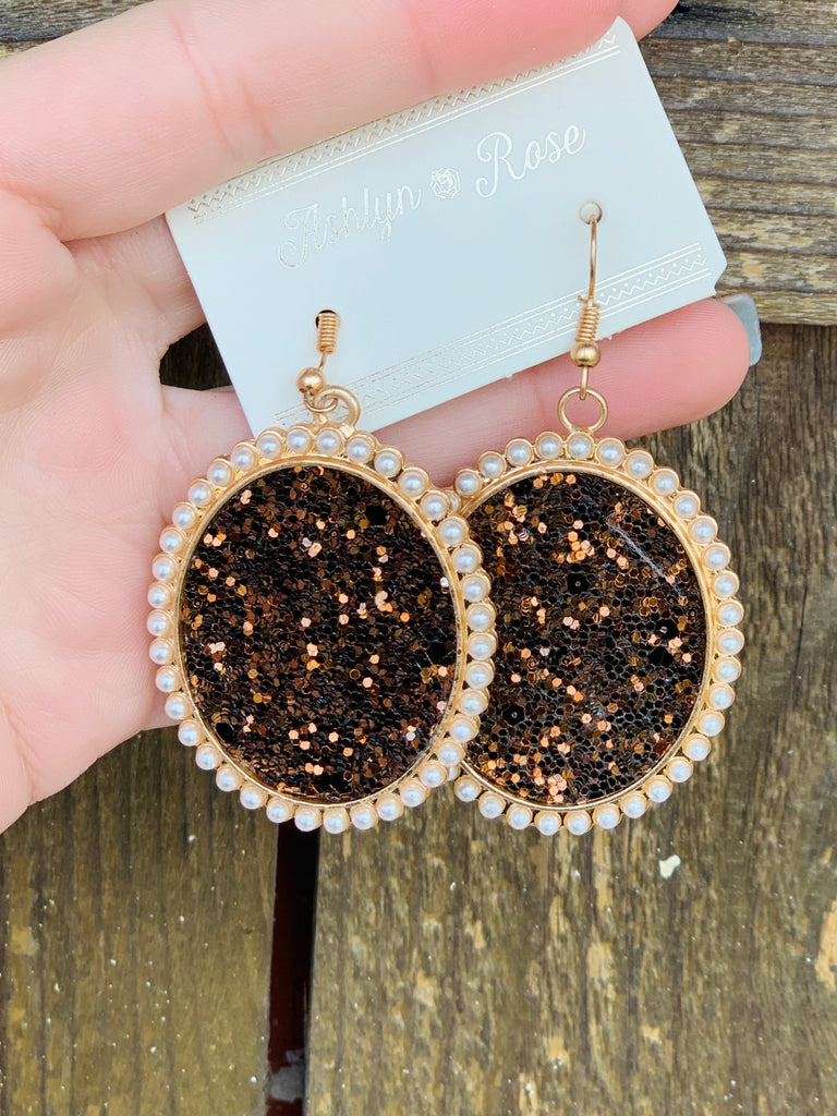 Glitter and Glam Brown Oval Earrings
