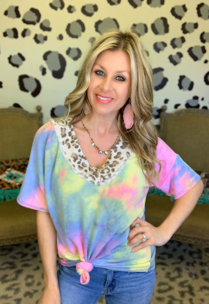 Cabo Wabo Leopard V and Blue Tie Die Blouse