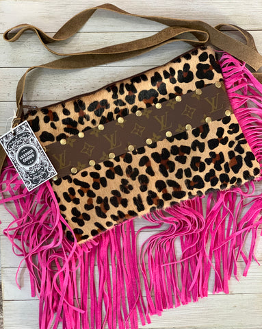 Brown leopard hair on hide & prink fringe maxine crossbody