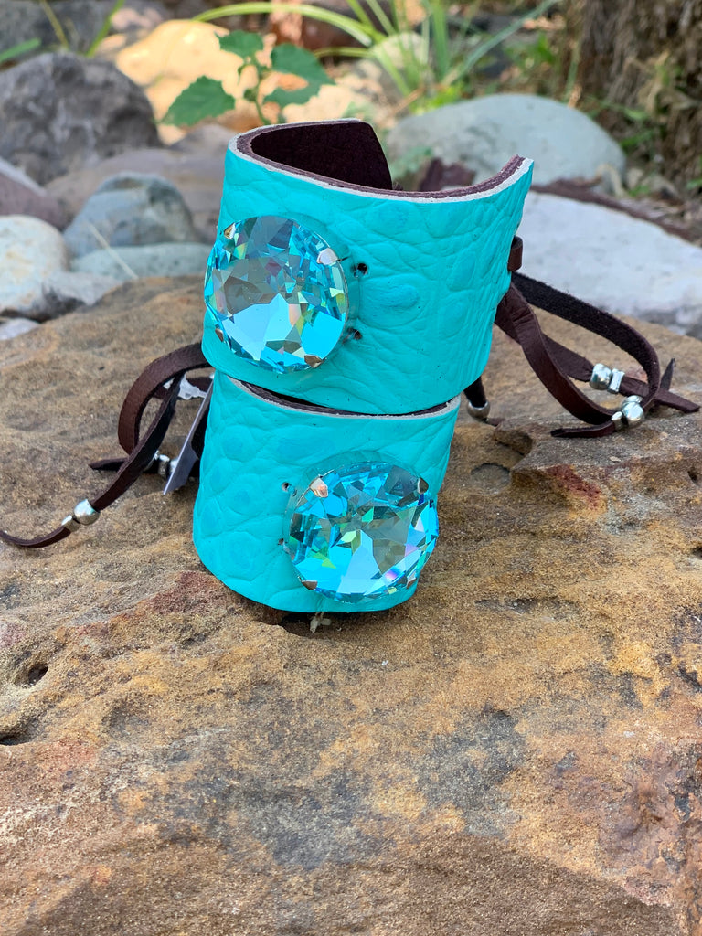 Large Blue croc leather & aqua crystal Stone cinch cuff