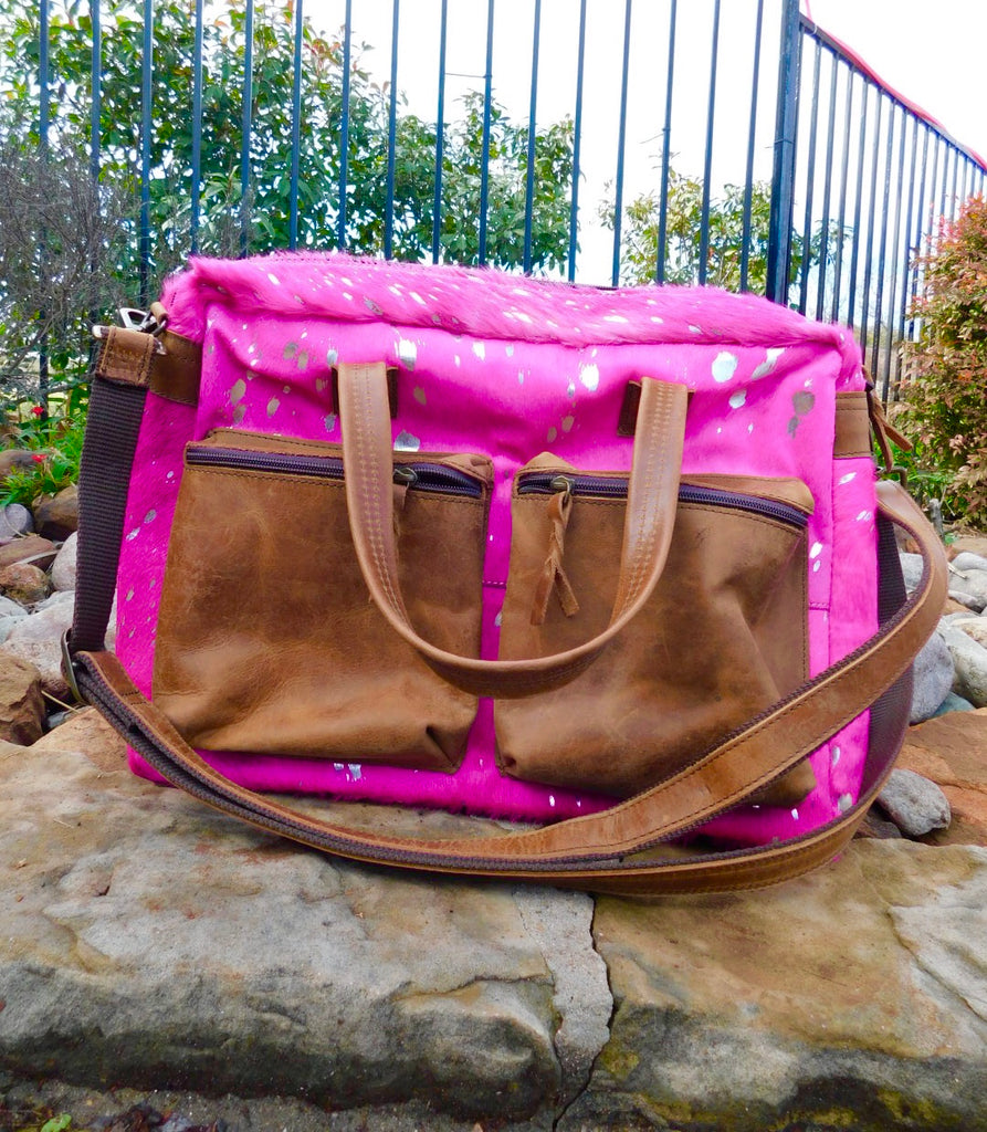 The Carrie Hot Pink Acid Wash & brown leather Work Bag