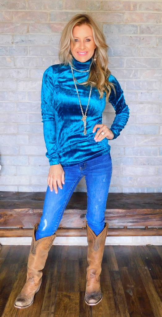 Teal Caught up in Southern Nights Velvet turtleneck blouse