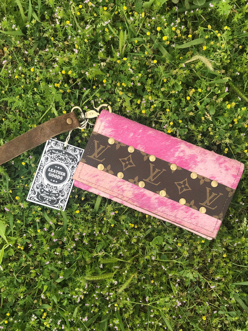 Pink acid wash hair on hide Trifold wallet/wristlet