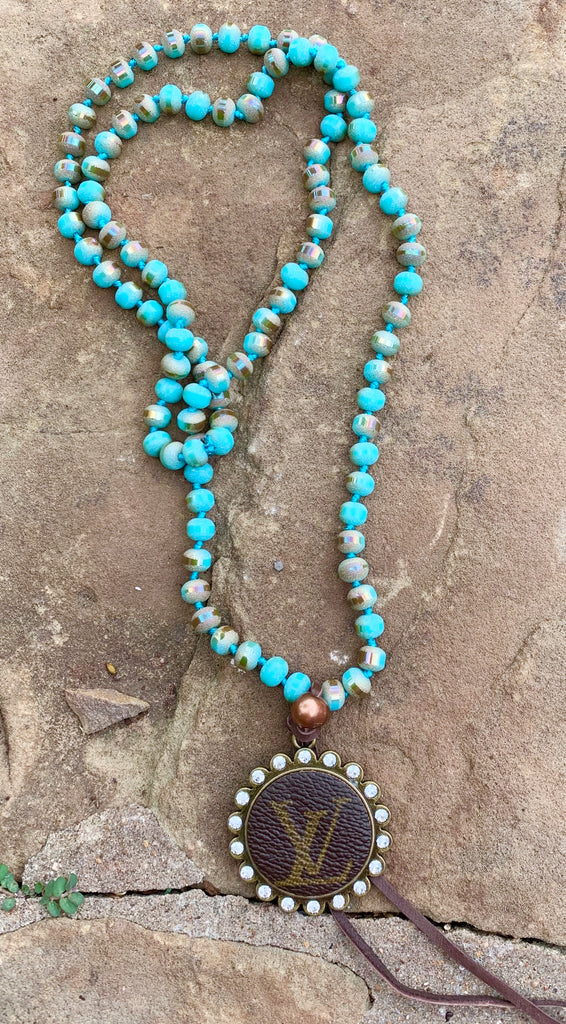 Turquoise Sunset shimmer Matte beaded upcycled Bezel Long Necklace