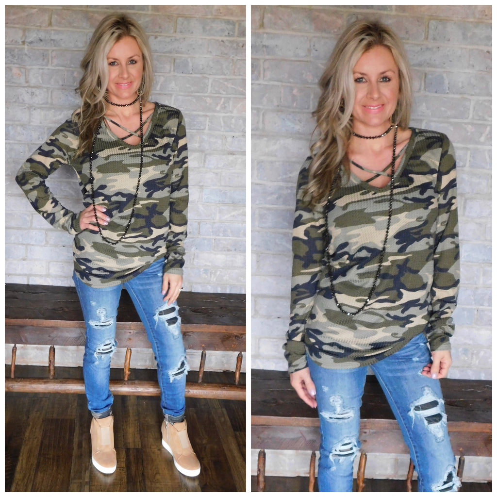 Camo Distressed Denim