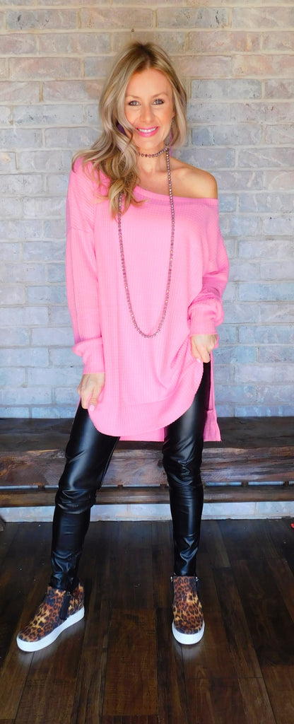 Candy Pink thermal waffle sweater