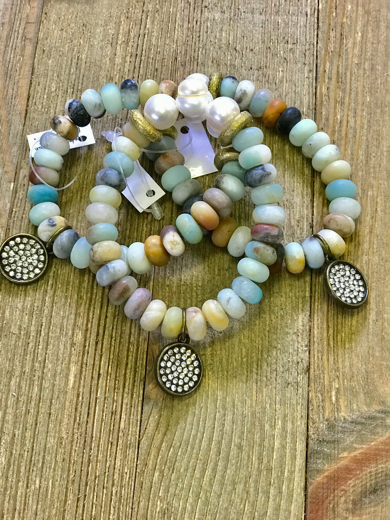 African Turquoise Pearl Embellished Bracelet