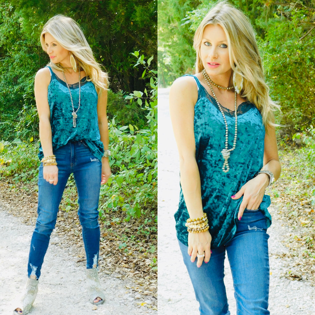 Teal Velvet Crush Tank