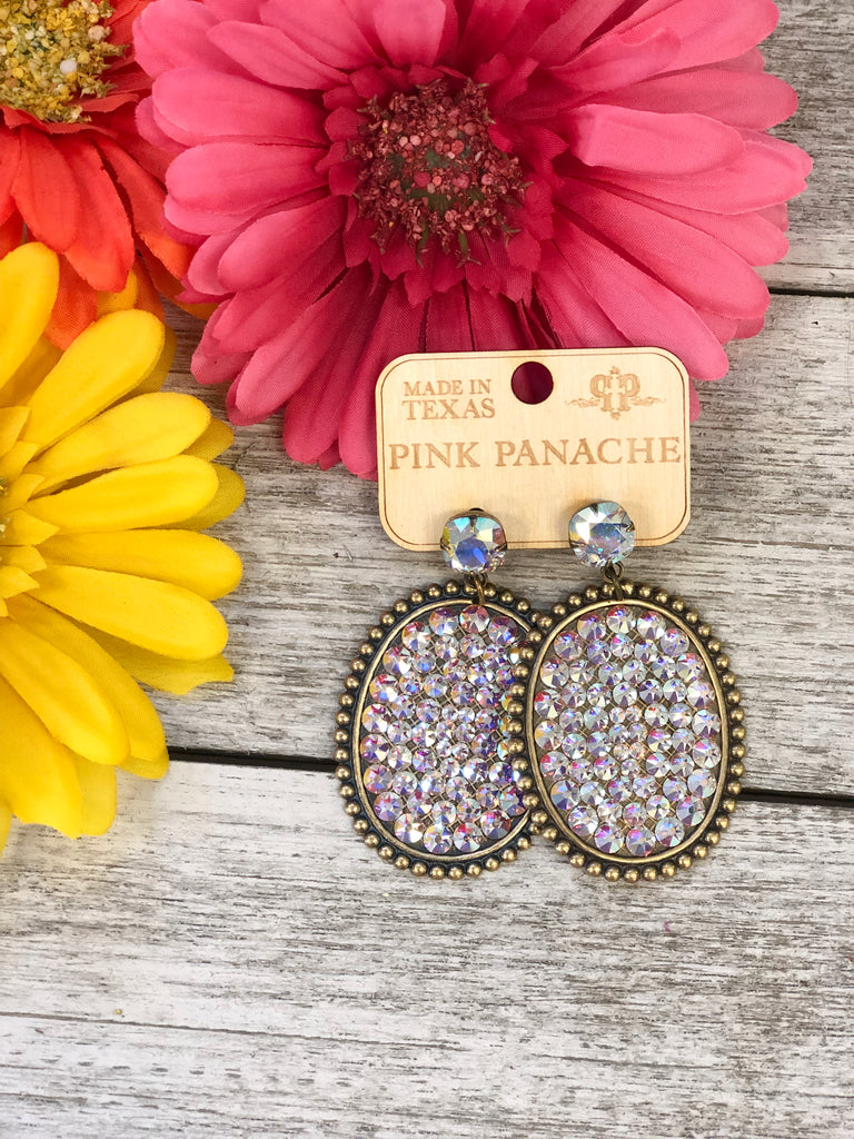 Crystal Oval & AB Earrings by Pink Panache