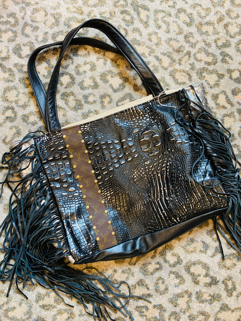 Black Croc Leather Silver Acid Wash Upcycled Stella tote by Keep It Gypsy