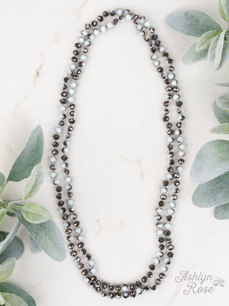 White Grey Marble Shimmer Beaded Necklace