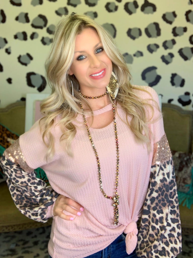 Runaway in Blush & Leopard Sequins Blouse