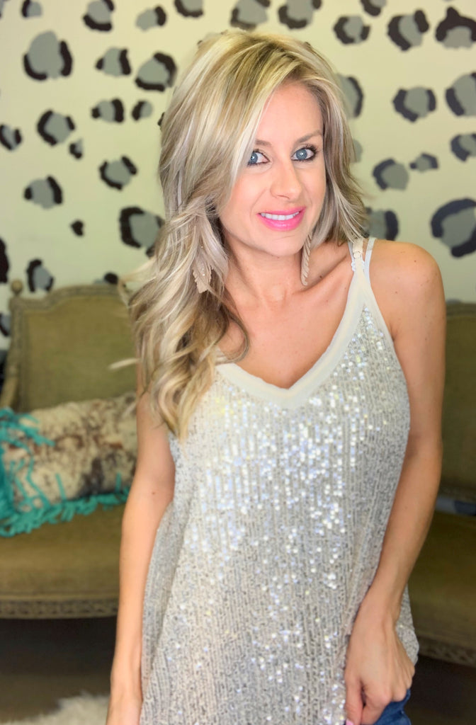 Holiday cheers Cream sequin chic tank