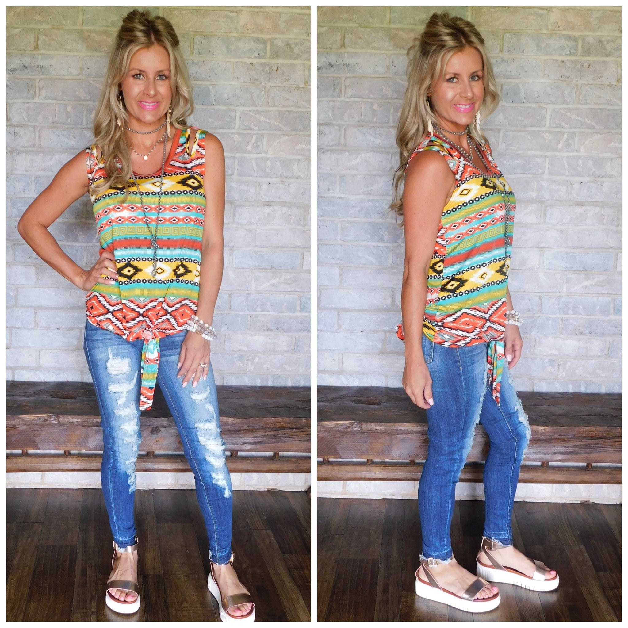 Aztec Tank w/ Split Shoulder