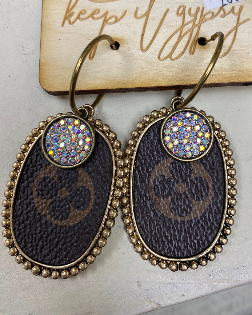 Gold Crystal Brown Upcycled Embellished Earrings by Keep It Gypsy