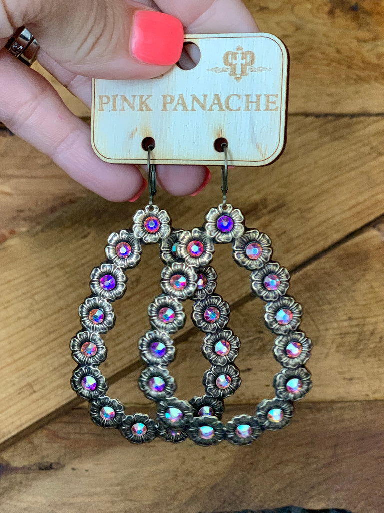 Gold Flower AB Teardrop Earrings by Pink Panache