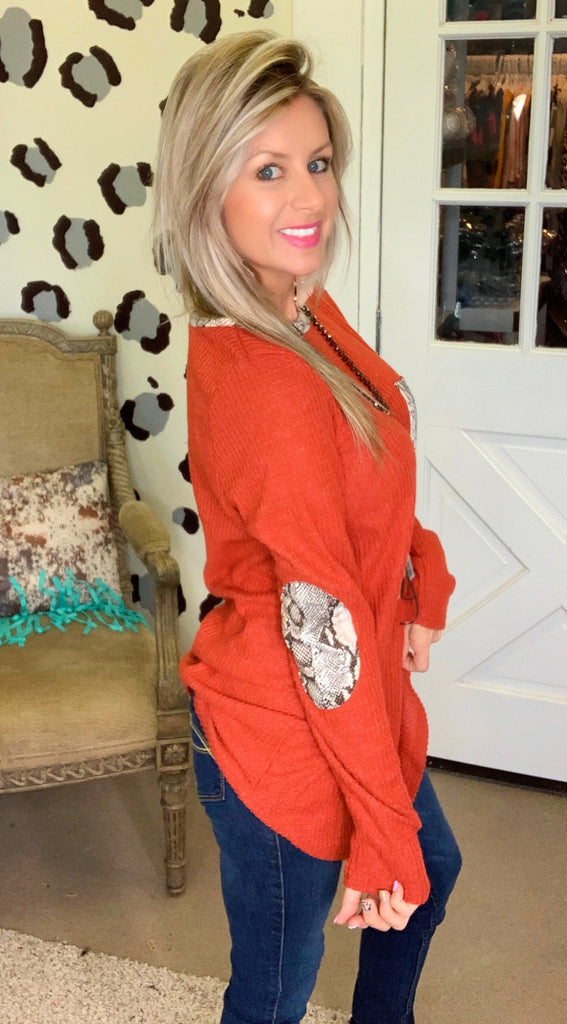 Rustic chic python waffle knit long sleeve