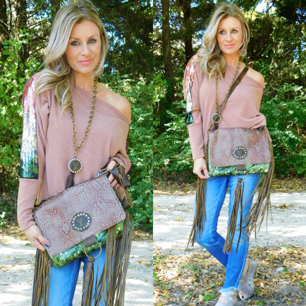 Brown Snake & Shimmer Camo Maxine Purse