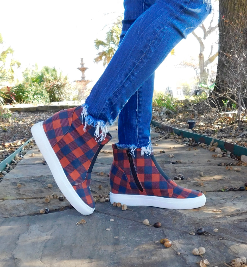 Red Dark Navy checkered wedge tennis shoes by Crazy Train