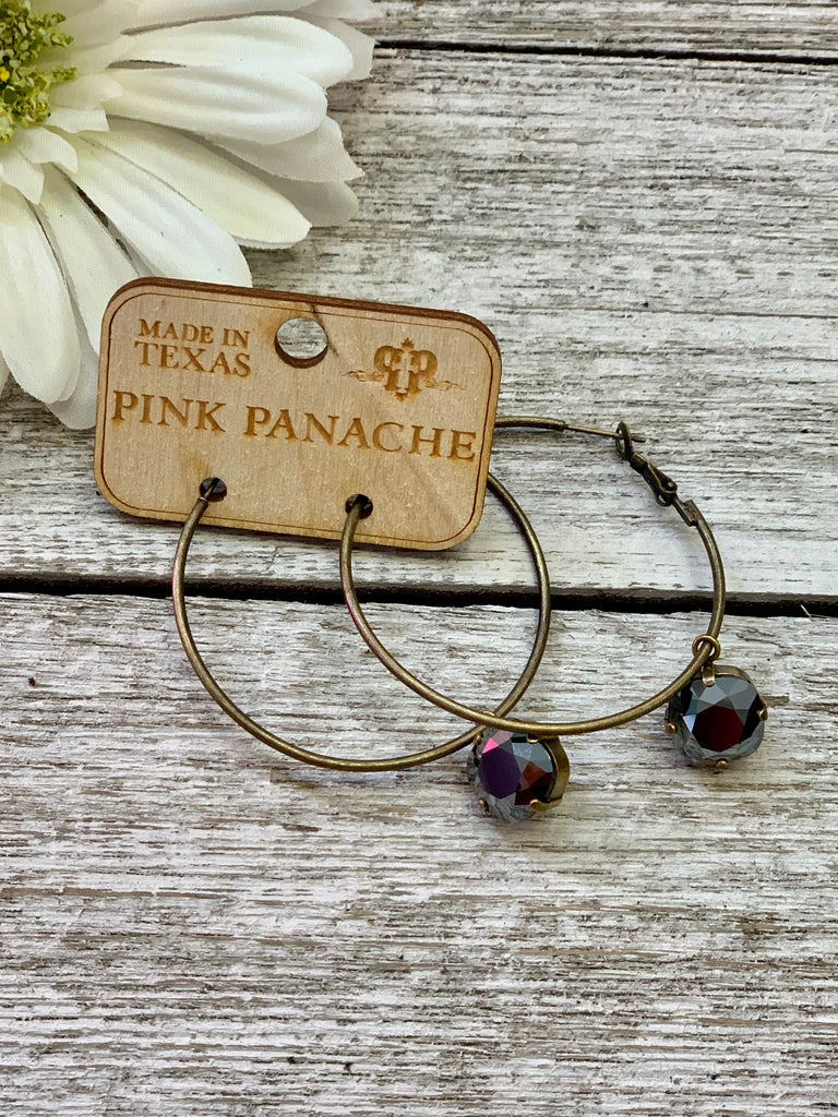 Black crystal golden pink panache hoops