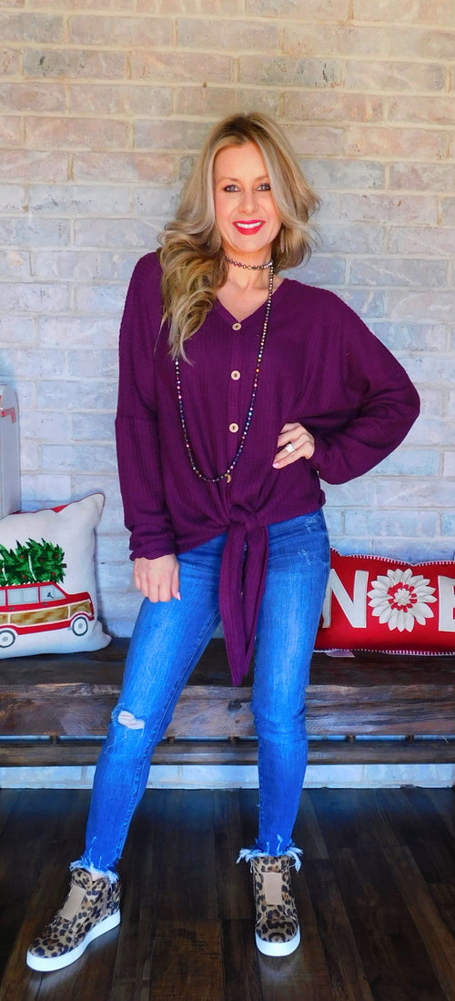 Purplish kind of feels waffle knit sweater