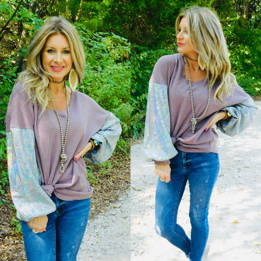 Show stoppin waffle knit Lilac blouse