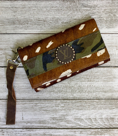 Axis & camo hair on hide LV Trifold wallet/wristlet