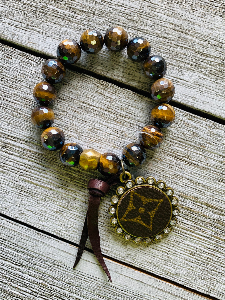 Beehive Upcycled Beaded Bracelet