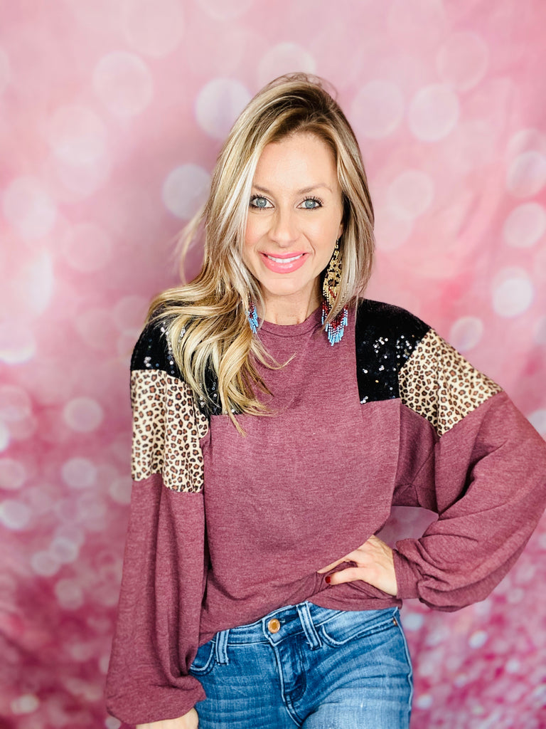 Vintage Burgundy Sequin Leopard Sweater