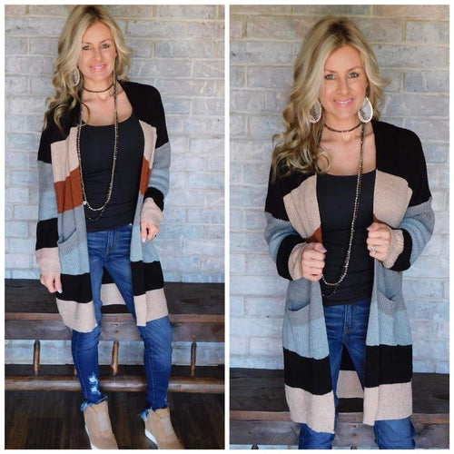 Black taupe grey color block cardigan