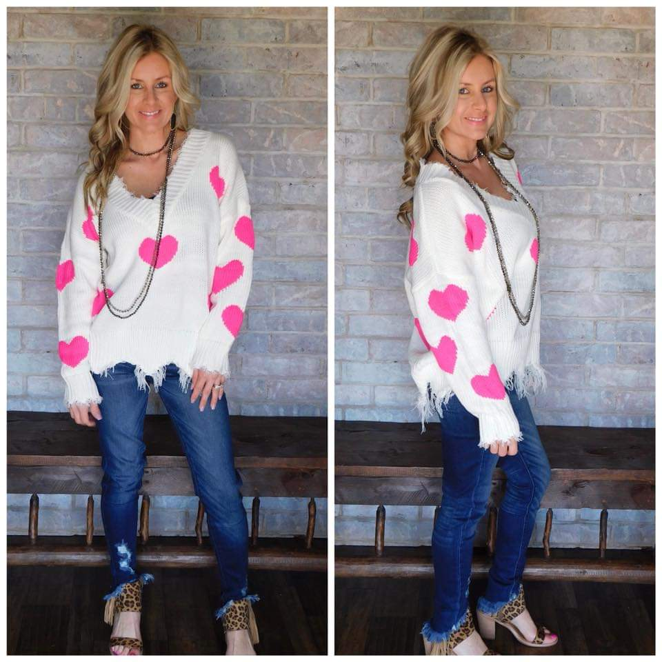 She's so beautiful Ivory & pink heart sweater