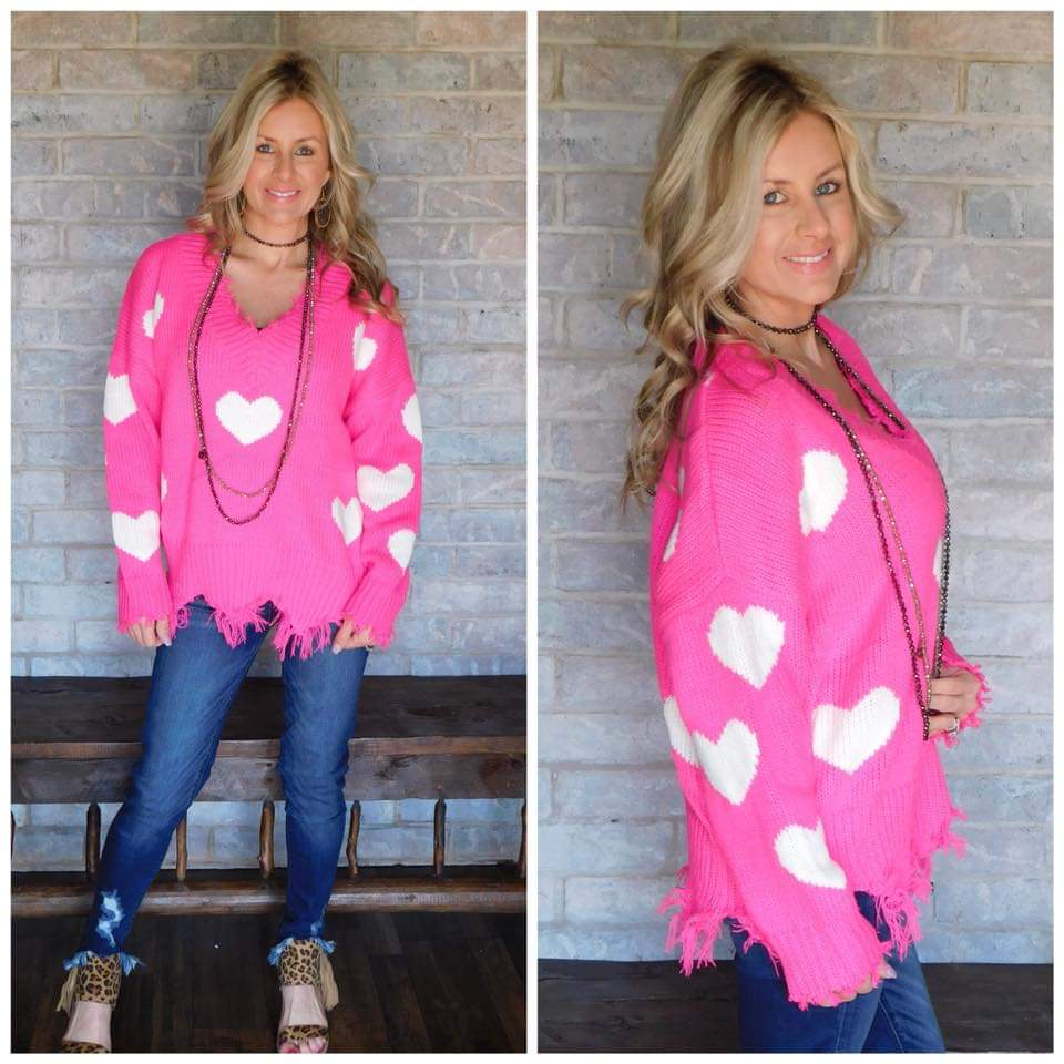In Love Hot pink & ivory heart ribbed sweater