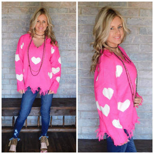 Neon fuschia & ivory heart sweater