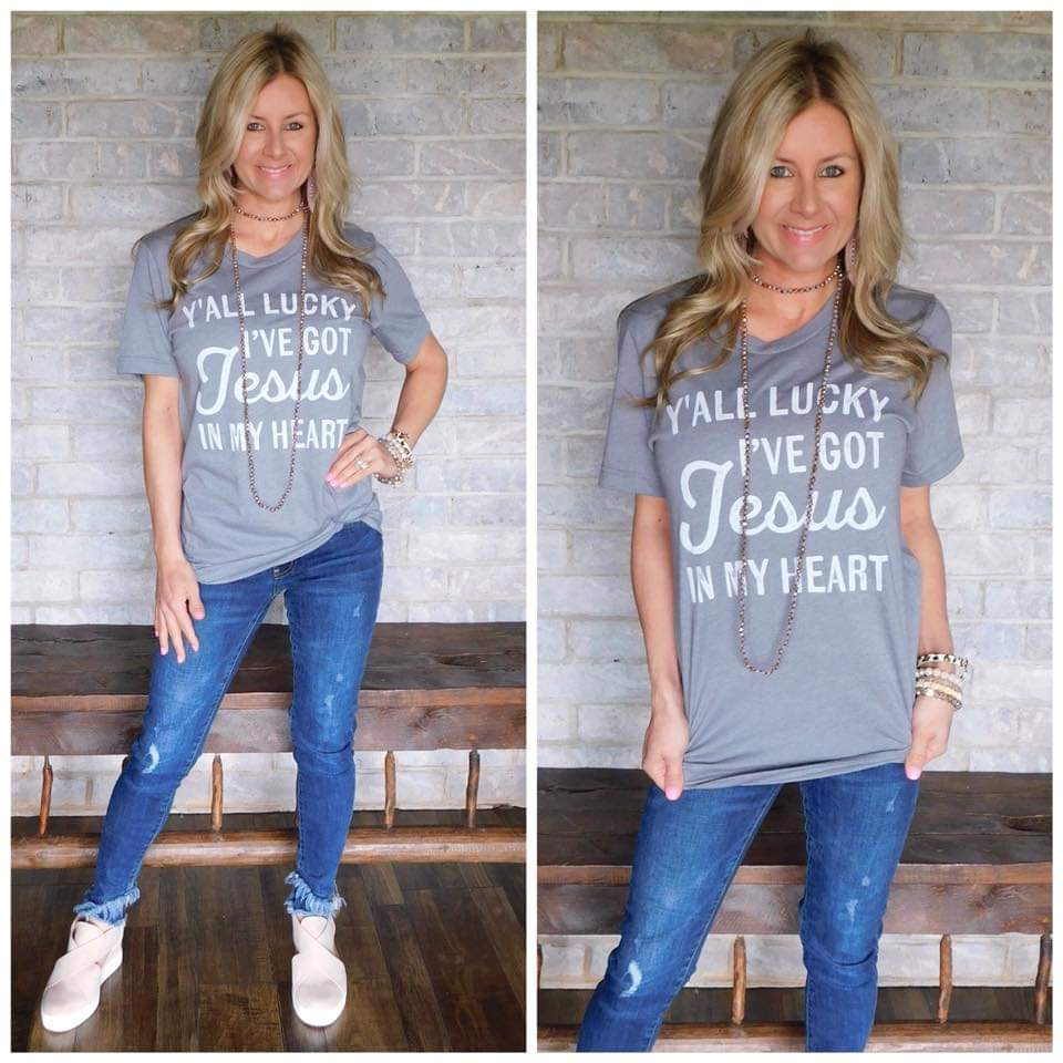 "Grey ""Yall lucky ive got Jesus"" tee"