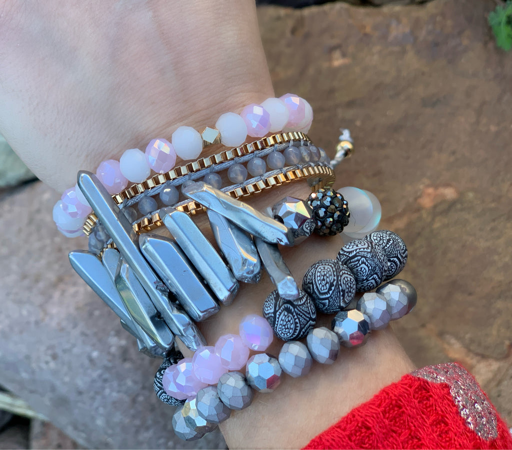 Grey Make A Statement Bracelet Stack