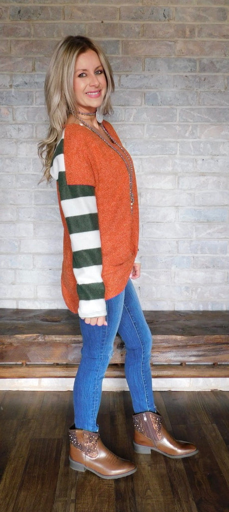 Harvest Rust striped long sleeve blouse
