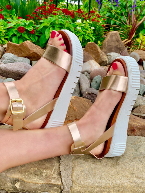Rose gold rush Mia wedge sandals