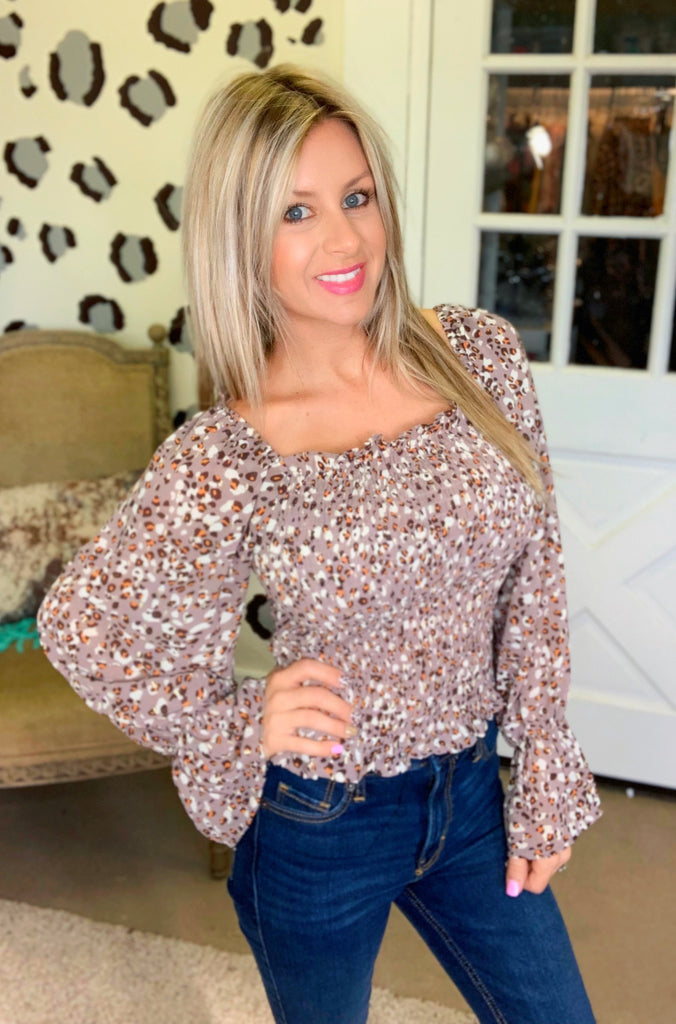 Downtown leopard ruffle sleeve blouse