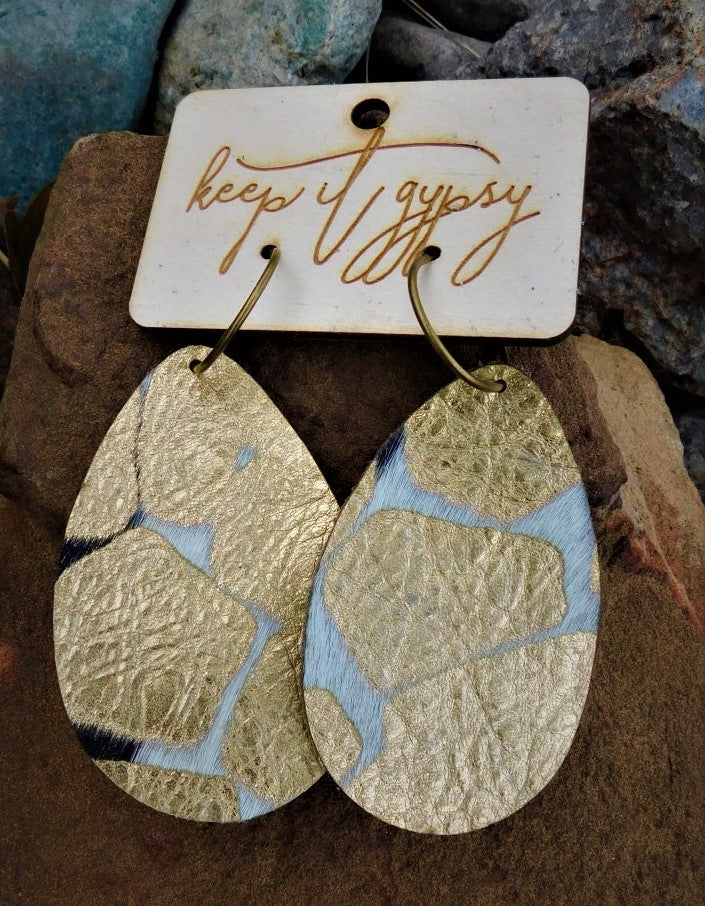 Gold Crackle hair on hide leather earrings by Keep it Gypsy