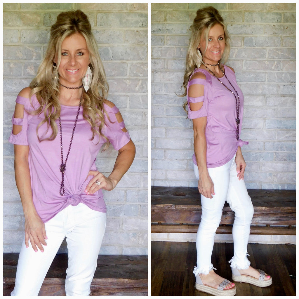 Lavender Slit Sleeve Causal Blouse