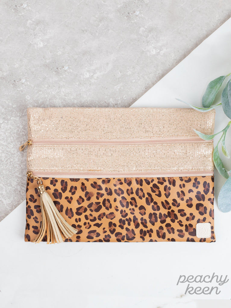 Gold & Leopard Double Zipper Bag
