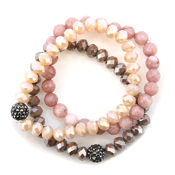 Mauve beaded tri bracelet set